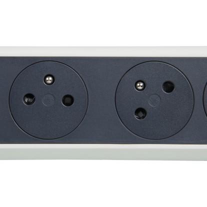 Rallonge multiprise rotatif avec 5 prises de courant Legrand surface et interrupteur - cordon 3m - blanc et gris foncé