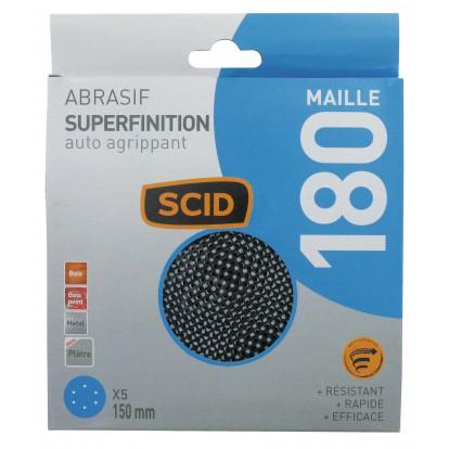 Disque maille auto-agrippant diamètre 150 mm SCID - Grain 180 - Vendu par 5