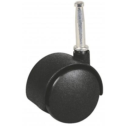 Roulette Twiny noire à douille à bois pivotante Guitel point M - Diamètre 40 mm