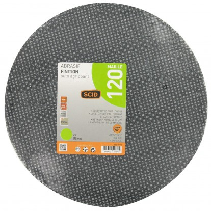 Disque maille auto-agrippant diamètre 180 mm SCID - Grain 120 - Vendu par 3