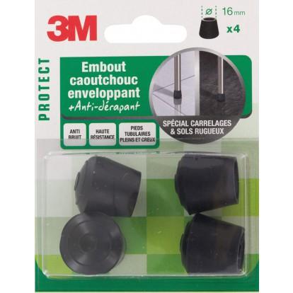 Embout caoutchouc enveloppant antidérapant 3M - Diamètre 16 mm - Vendu par 4