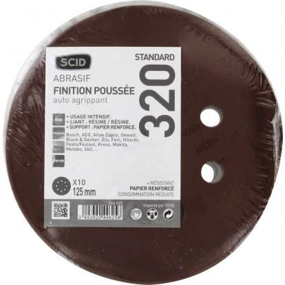 Disque auto-agrippant SCID - 8 trous - Grain 320 - Diamètre 125 mm - Vendu par 10