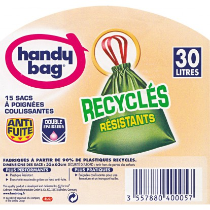 Sac poubelle recycle Handy bag - 53 x 63 cm - 30 l - 15 sacs