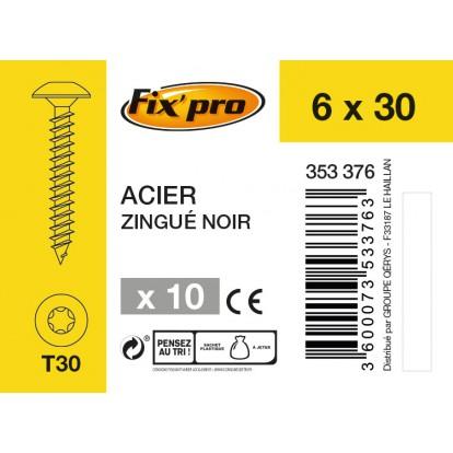 Vis spéciale penture tête étoilée acier zingué noire - 6x30 - 10 pces - FixPro
