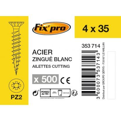 Vis à bois tête fraisée PZ - 4x35 - 500pces - Fixpro