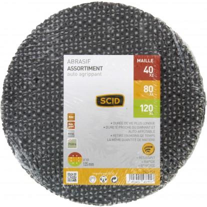 Disque maille auto-agrippant diamètre 125 mm SCID - Grain 40 x 2 - 80 x 4 - 120 x 4 - Vendu par 10