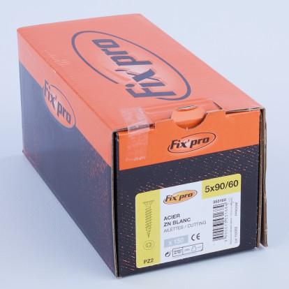 Vis à bois tête fraisée PZ - 5x90/60 - 150pces - Fixpro