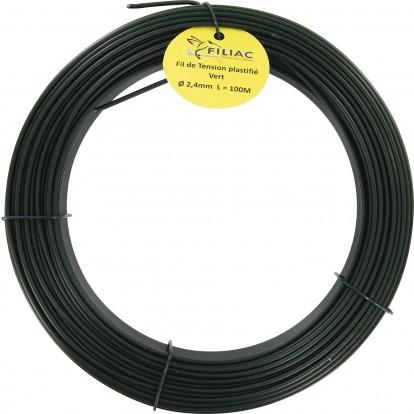 Fil de tension galvanisé plastifié Filiac - Longueur 50 m - Diamètre 2,4 mm - Vert