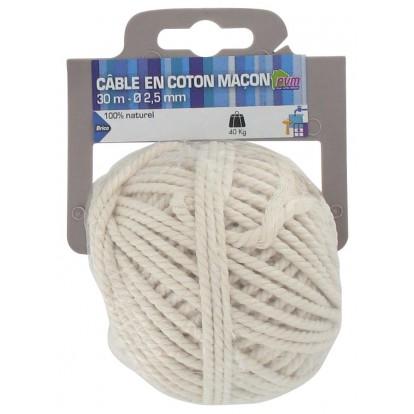 Cordeau coton PVM - Longueur 30 m - Diamètre 2,5 mm