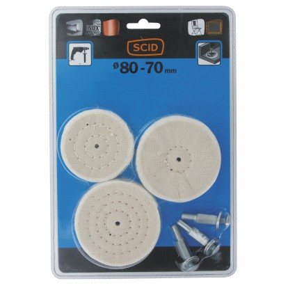 Lot de 3 brosses circulaires coton SCID - Diamètre 70 mm et 2 x 80 mm
