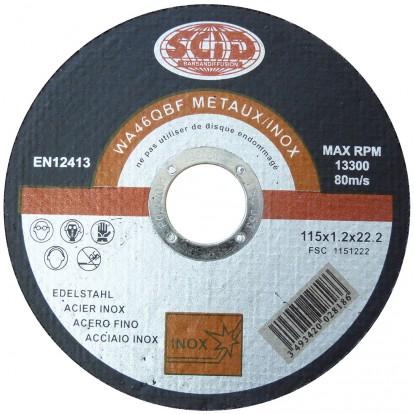 Disque à tronçonner l'inox SCID - Moyeu plat - Diamètre 115 mm - Alésage 22,2 mm