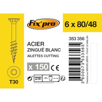 Vis à bois tête fraisée TX - 6x80/48 - 150pces - Fixpro