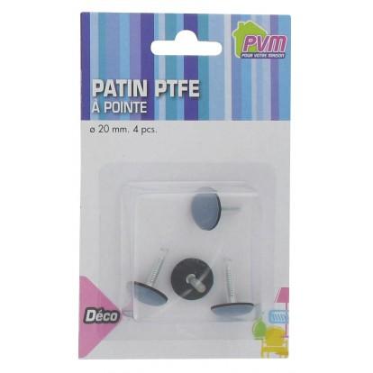 Patin PTFE gris à clouer PVM - Diamètre 20 mm - Vendu par 4