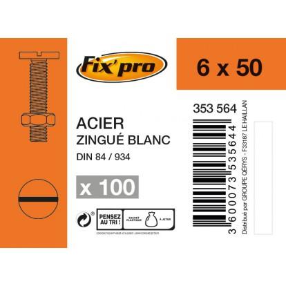 Boulon tête cylindrique fendue acier zingué - 6x50 - 100pces - Fixpro