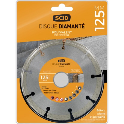 Disque diamanté polyvalent bricolage SCID - Diamètre 125 mm
