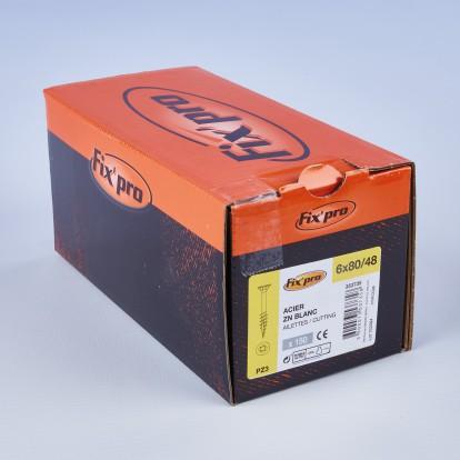 Vis à bois tête fraisée PZ - 6x80/48 - 150pces - Fixpro