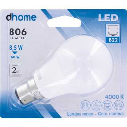 Ampoule LED standard B22 dhome - 806 Lumens - 8,5 W - 4000 K