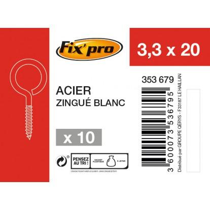 Piton à visser acier zingué - 3,3x20 - 10pces - Fixpro