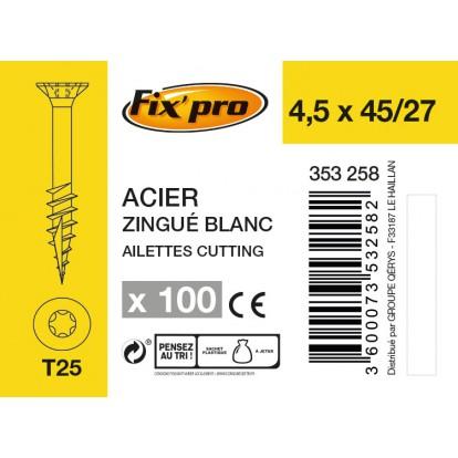 Vis à bois tête fraisée TX - 4,5x45/27 - 100pces - Fixpro