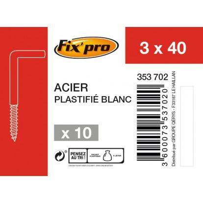 Gond à vis acier plastifié blanc - 3x40 - 10 pces - Fixpro