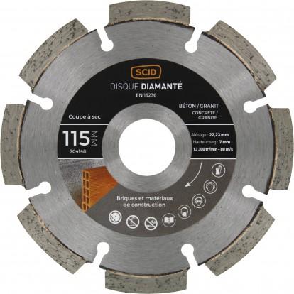 Disque diamanté béton granit SCID - Diamètre 115 mm