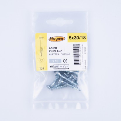 Vis à bois tête fraisée TX - 5x30/18 - 10pces - Fixpro