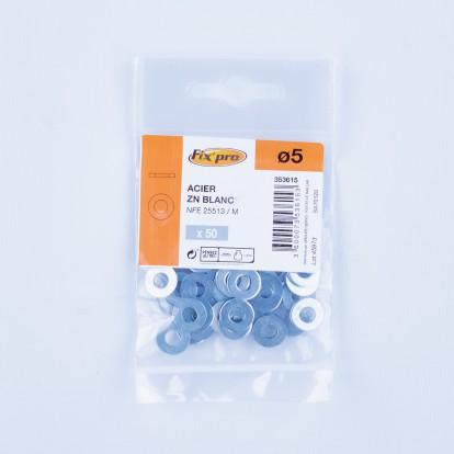Rondelle plate acier zingué - Ø5mm - 50pces - Fixpro