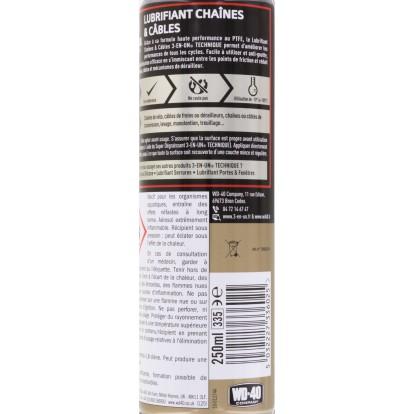 Lubrifiant chaines et câbles au PTFE 3en1 - Aérosol 250 ml