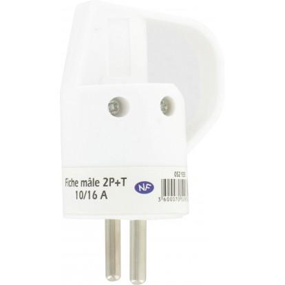 Fiche plastique 2P+T-10/16 A Dhome - Mâle - Blanc - Avec anneau