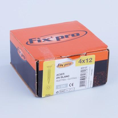 Vis à bois tête fraisée PZ - 4x12 - 500pces - Fixpro