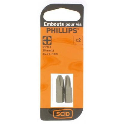Embout de vissage 25 mm Phillips S2 SCID - PH3 - Vendu par 2