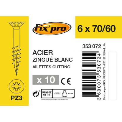 Vis à bois tête fraisée PZ - 6x70/60 - 10pces - Fixpro
