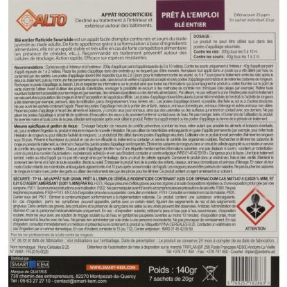 Appât raticide souricide grain de blé entier Difenacoum Alto - 7 sachets de 20 g