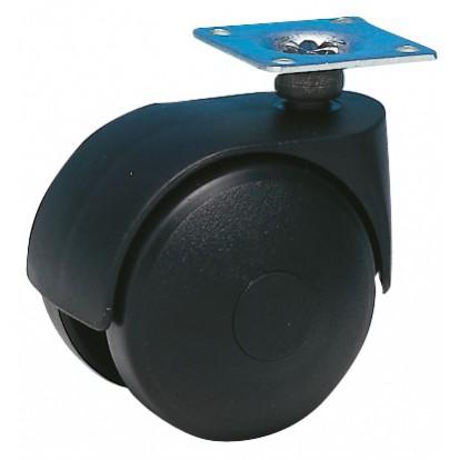 Roulette Twiny noire à platine pivotante Guitel point M - Diamètre 40 mm