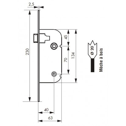 Serrure à larder réversible à condamnation PVM - Réversible - Bouts ronds - Entraxe 70 mm - l x h x p - 20 x 230 x 63 mm