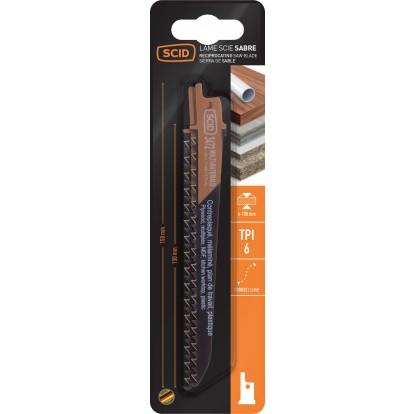 Lame de scie sabre classique bois et plastique SCID - Epaisseur 1,2 mm - Longueur 150 mm - Vendu par 2