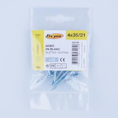 Vis à bois tête fraisée TX - 4x35/21 - 20pces - Fixpro