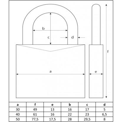 Cadenas laiton massif s'entrouvrant série 65 Abus - Longueur 30 mm