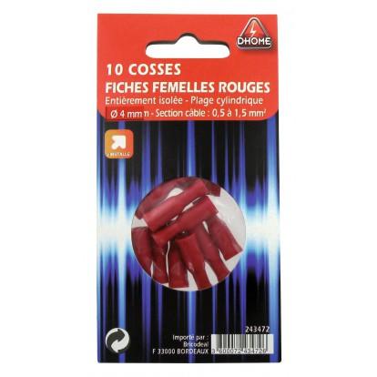 Fiche cylindrique Dhome - Femelle - Rouge - Diamètre 4 mm - Vendu par 10