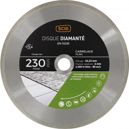 Disque diamanté grés cérame et carrelage SCID - Diamètre 230 mm