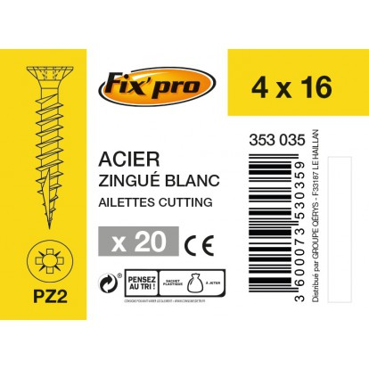 Vis à bois tête fraisée PZ - 4x16 - 20pces - Fixpro
