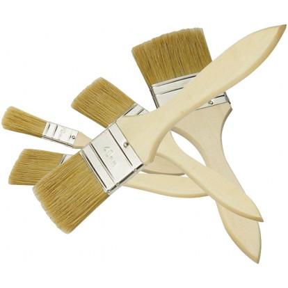 Lot de pinceaux Nespoli - 5 pinceaux plats - Largeur 20, 30 x 2, 40 et 50 mm