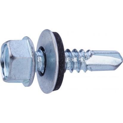 Vis tête hexagonale autoforeuse + rondelle acier zingué - 6,3x25 - 10pces - Fixpro