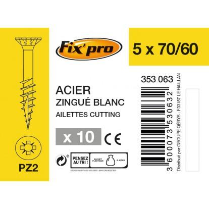 Vis à bois tête fraisée PZ - 5x70/60 - 10pces - Fixpro