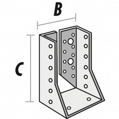 Sabot de solive aile intérieure - 100 mm x 60 mm - Alberts