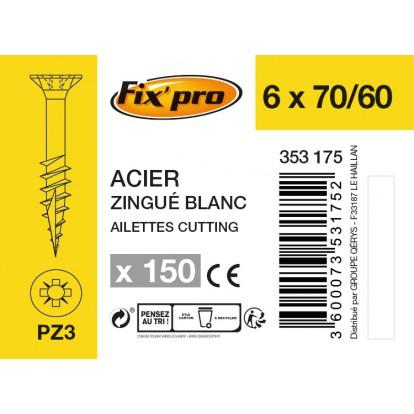 Vis à bois tête fraisée PZ - 6x70/60 - 150pces - Fixpro