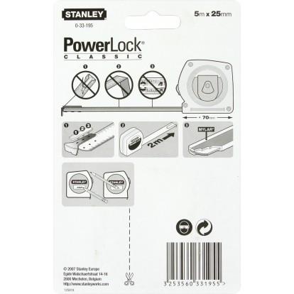 Mesure Powerlock® Stanley - Longueur 5 m - Largeur 25 mm