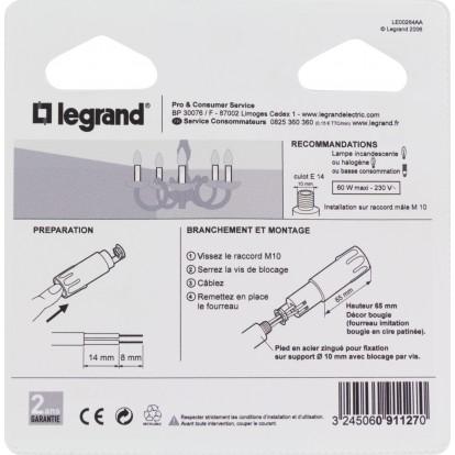 Fourreau cire patinée + douille E14 Legrand - Hauteur 65 mm