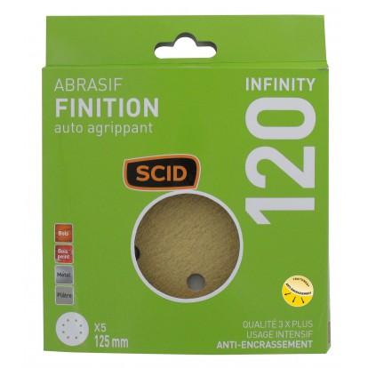 Disque abrasif auto-agrippant SCID - 8 trous - Grain 120 - Diamètre 125 mm - Vendu par 5