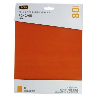 Papier de verre Silex SCID - Grain 80 - Vendu par 4